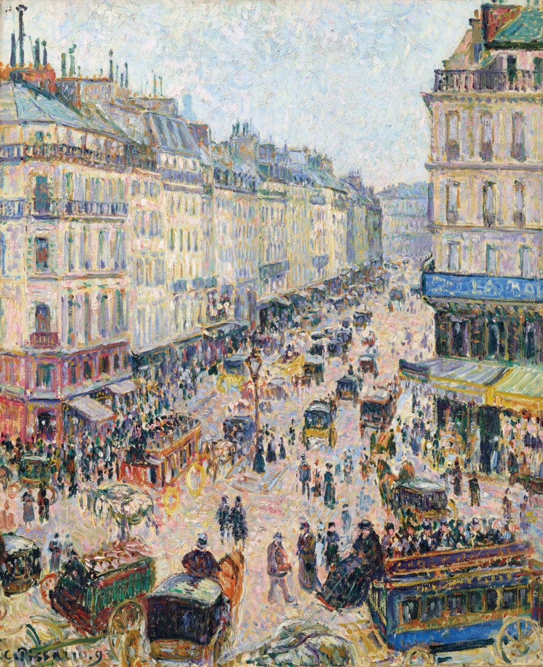 Camille Pissarro (1830-1903), La Rue Saint-Lazare, temps lumineux, 1893. Oil on canvas. 28⅞ x 23¾ in (73.2 x 60.2 cm). Sold for $12,350,000 on 11 November 2018 at Christie's in New York