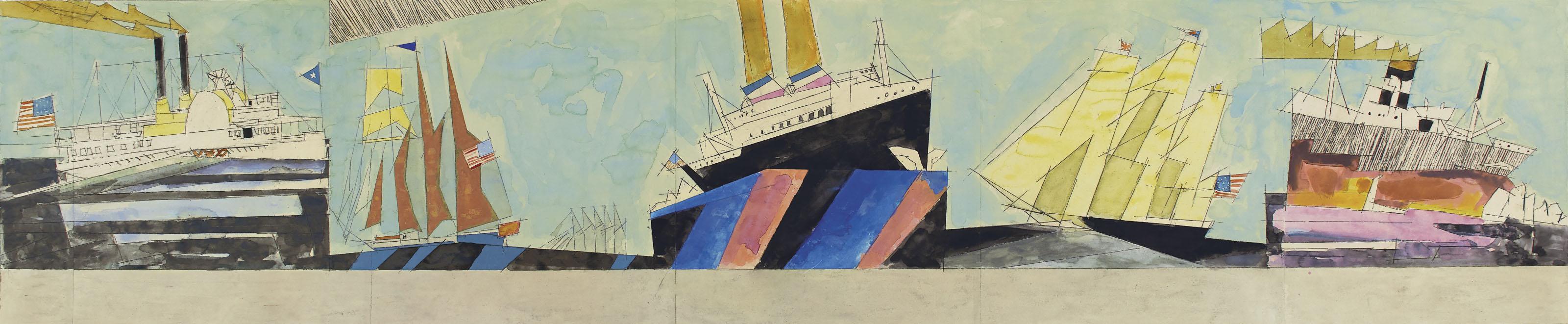 American Navigation (Design for Mural, Marine Transportation Building, New York World's Fair, 1939-1940)