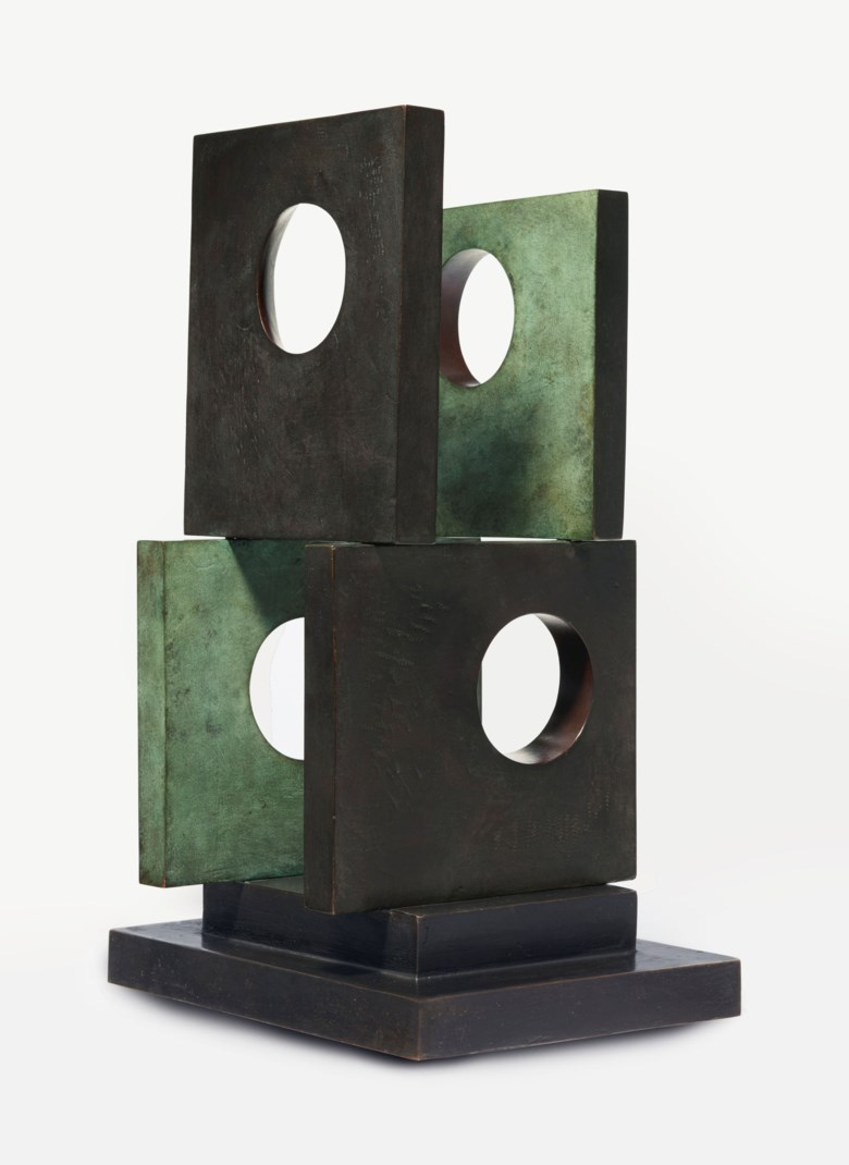 Barbara Hepworth (1903-1975), Four-Square (Four Circles), conceived and cast in 1966. Height 23⅝  in (59.9  cm). Estimate $300,000-500,000. This lot is offered in Impressionist and Modern Art Day Sale on 12 November 2018 at Christie's in New York