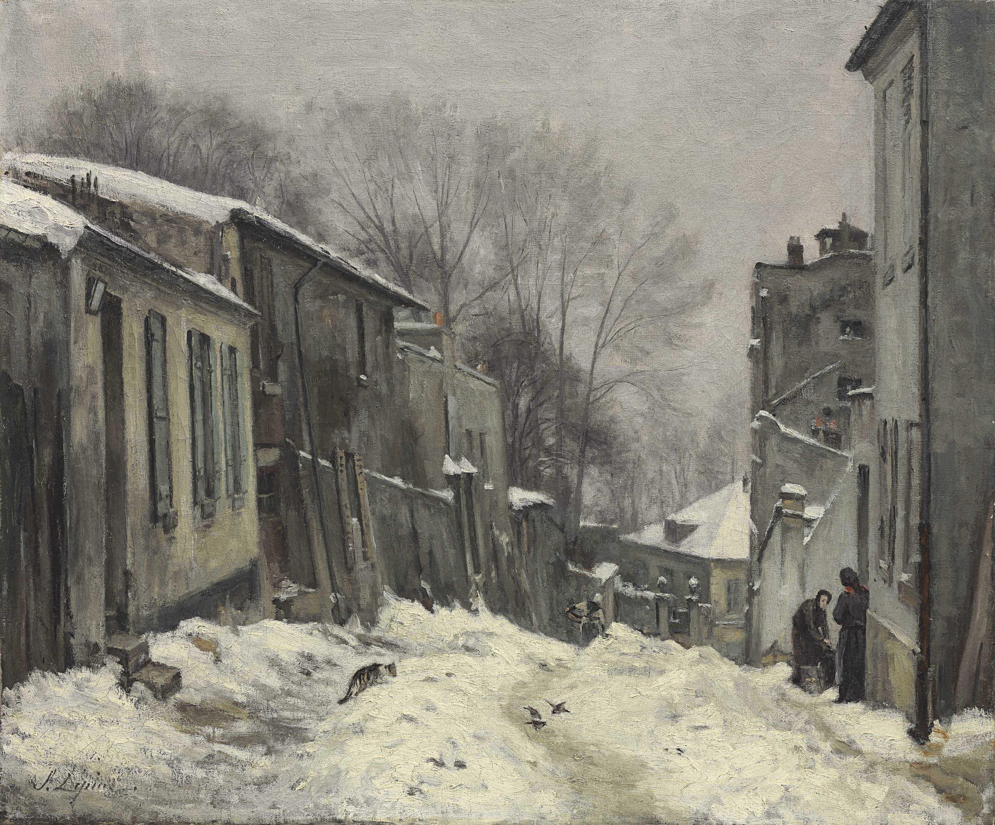 Montmartre, la rue du Mont-Cenis, effet de neige