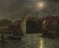 Boats on a Canal, Moonlight