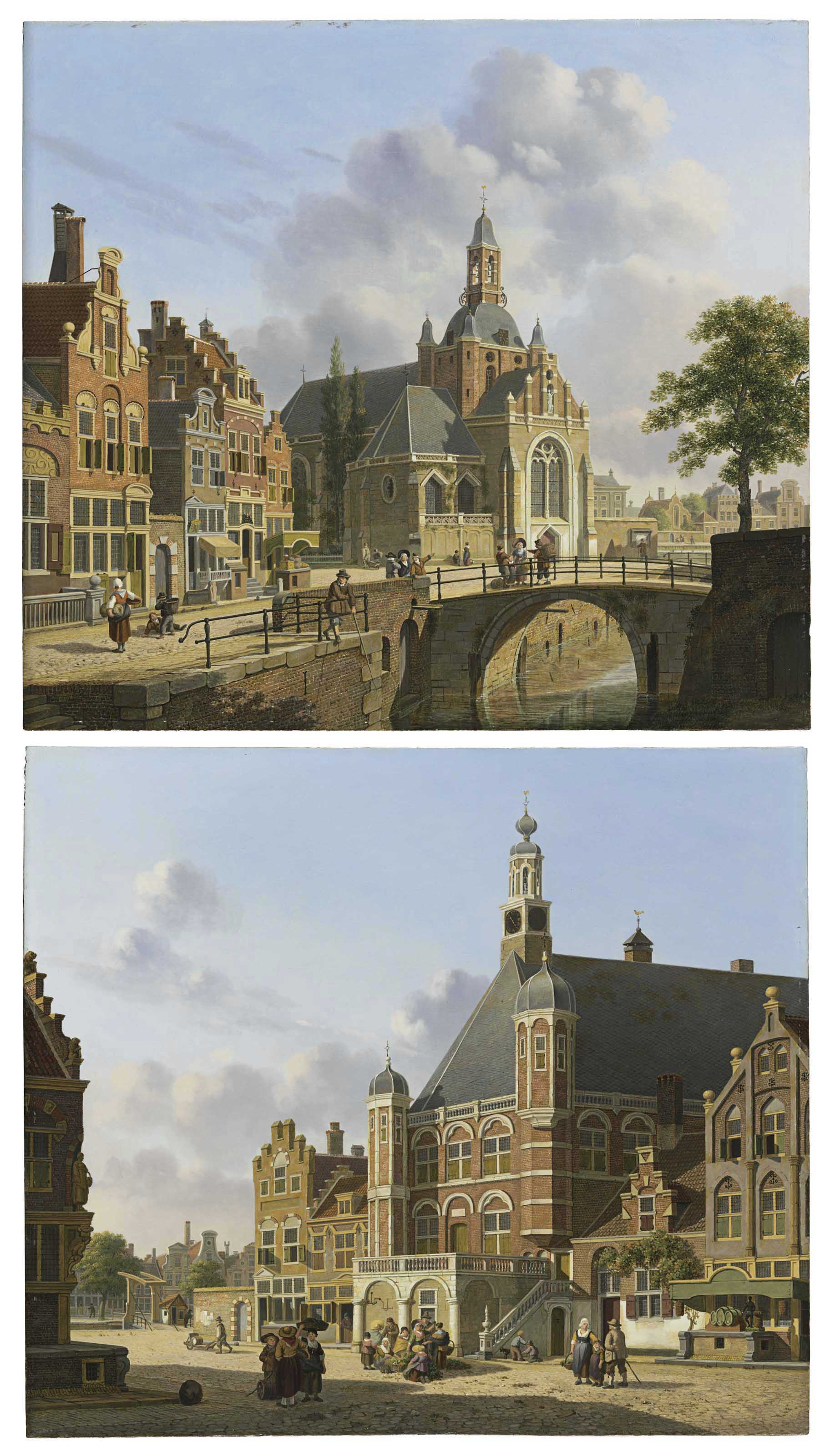 A Church along a Canal, Holland; and A Busy Town Square, Holland