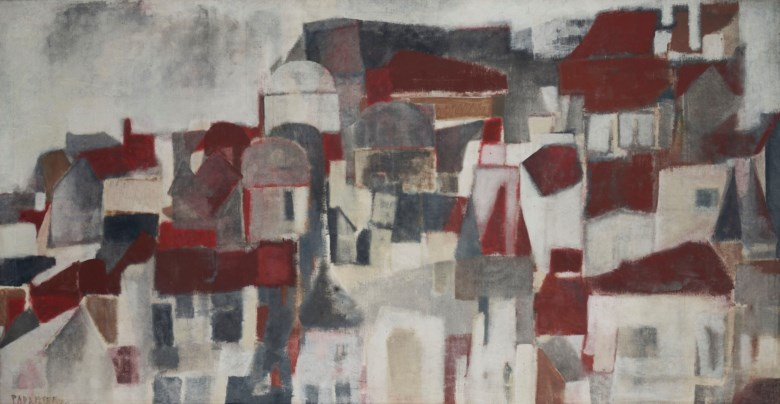 Akbar Padamsee (1928-2020), Rooftops, 1959. Plastic emulsion on canvas. 48¾ x 93½  in (123.8 x 237.5  cm). Sold for $912,500 on 12 September 2018 at Christie's in New York