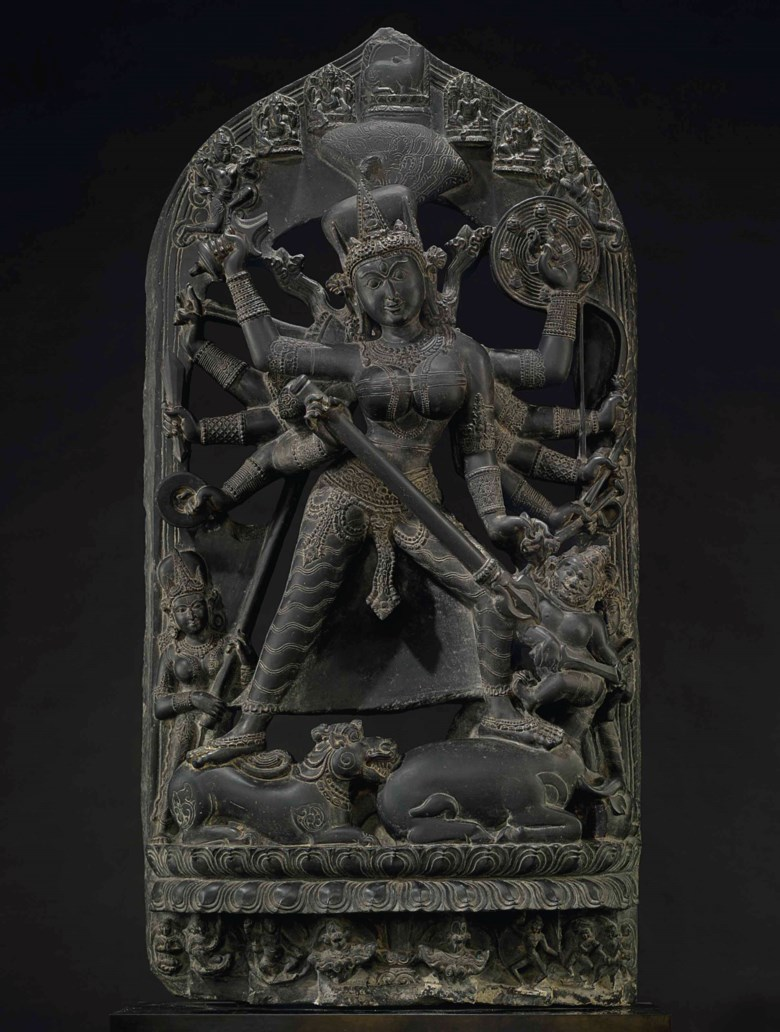 A black stone stele of Durga Mahishasura Mardini, northeast India, Pala period, Late 10th-early 11th century. 51½ in (131 cm) high. Estimate $800,000-1,200,000. This work is offered on 21 March in the Indian, Himalayan and Southeast Asian Works of Art Sale at Christie's in New York