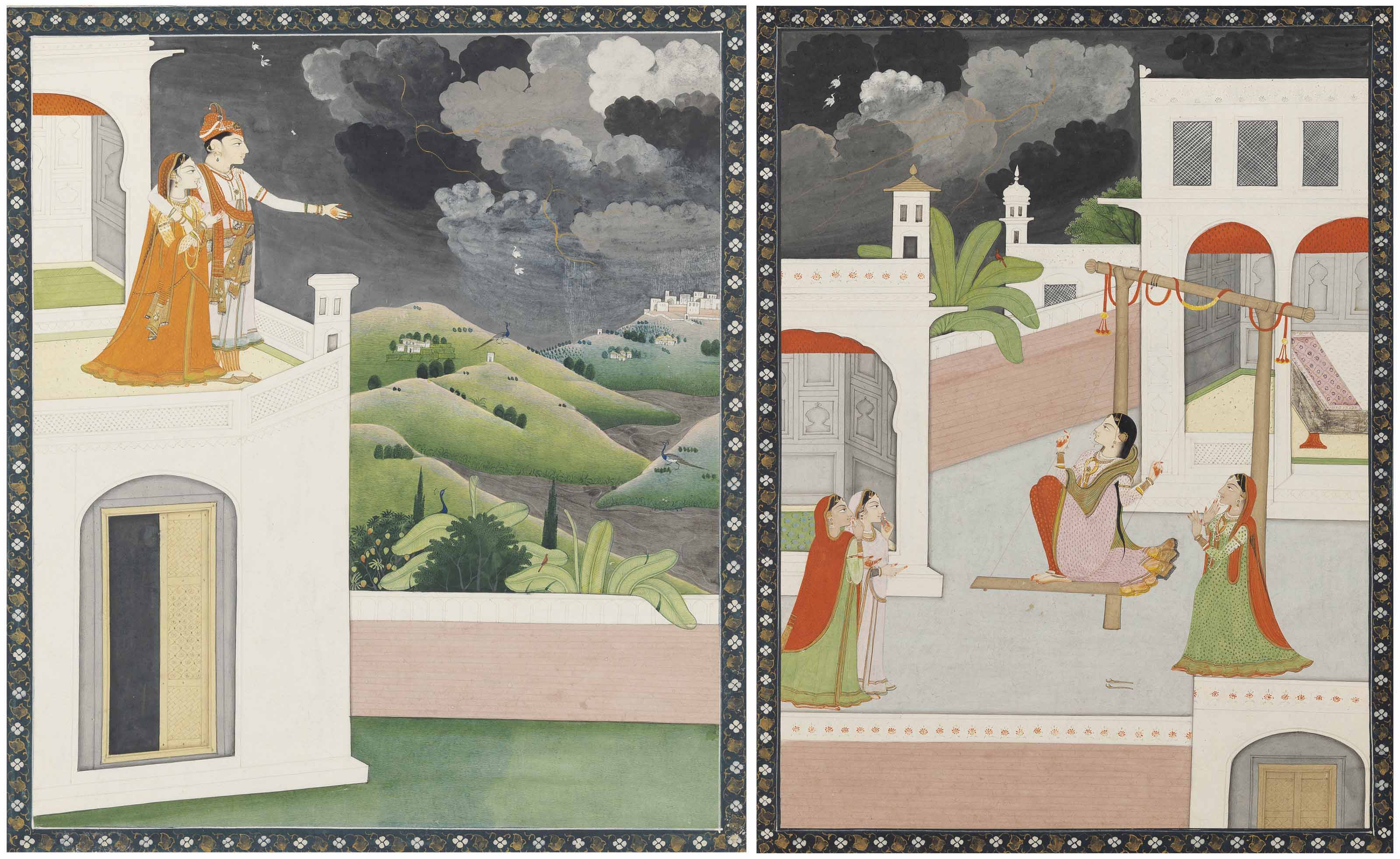 TWO PAINTINGS DEPICTING IMPEND