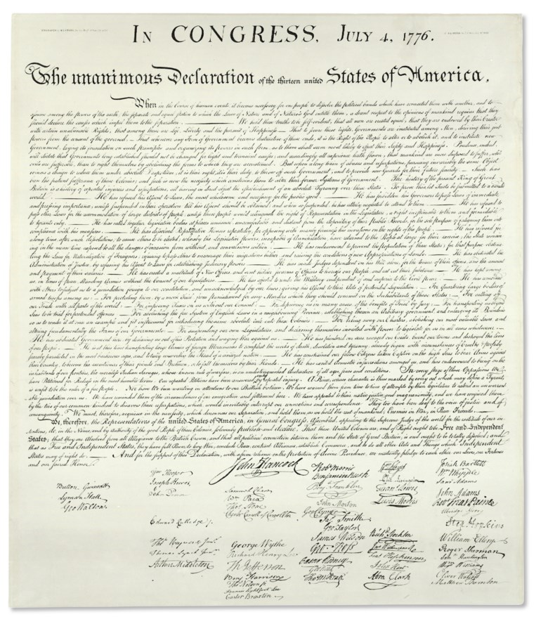 Declaration of Independence — In Congress, July 4, 1776. The Unanimous Declaration of the Thirteen United States of America. Washington W. I. Stone for the Department of State, 4 July 1823. Broadside folio (755 x 657 mm), on paper. Housed in Mylar beneath a mat and  frame. Estimate $200,000-300,000. Offered in Fine Printed Books & Manuscripts, Including Americana on 14 June 2018 at