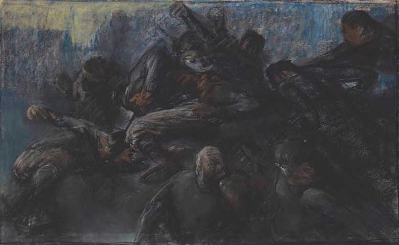 George Wesley Bellows (1882-1925), Football Game, executed in 1910. 14⅝ x 24  in (37.2 x 61  cm). Estimate $250,000-350,000. Offered in American Art on 22 May at Christie's in New York