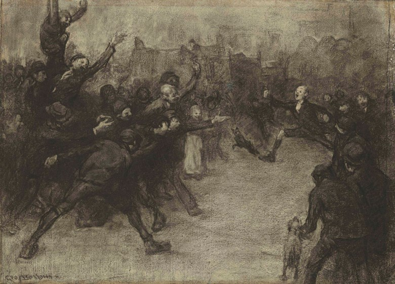 George Wesley Bellows (1882-1925), Meet of the 'Daffydil' Athletic Club (Street Scene. A Street Marathon), executed in 1906. 16¼ x 23  in (41.3 x 58.4  cm). Estimate $250,000-350,000. Offered in American Art on 22 May at Christie's in New York