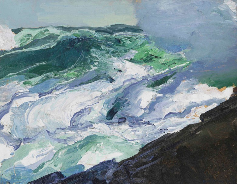 George Wesley Bellows (1882-1925), Tumble of Waters, painted in 1913. 15 x 19½  in (38.1 x 49.5  cm). Offered in American Art on 22 May 2018 at Christie's in New York and sold for $275,000