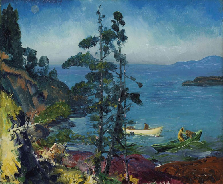 George Wesley Bellows (1882-1925), Evening Blue (Tending the Lobster Traps. Early Morning), painted in 1916. 18 x 22  in (45.7 x 55.9  cm). Estimate $1,000,000-1,500,000. Offered in American Art on 22 May at Christie's in New York