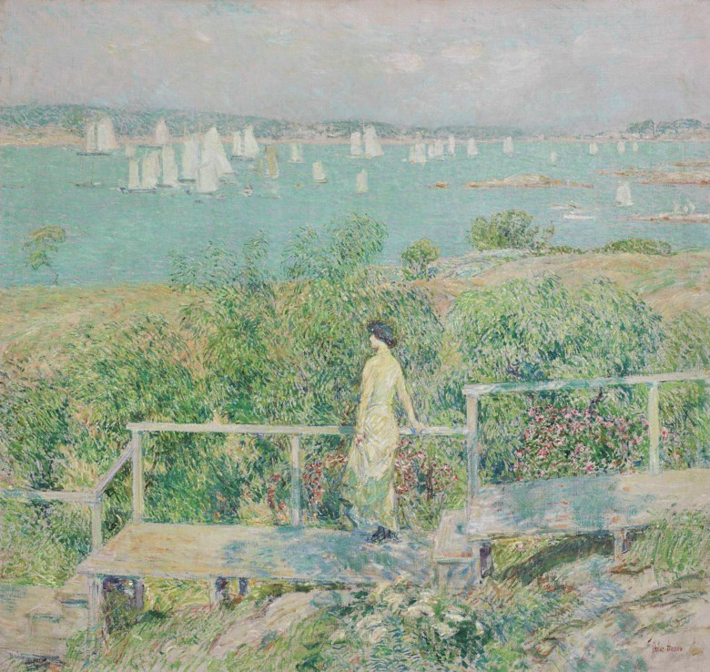 Childe Hassam (1859-1935), The Yachts, Gloucester Harbor, painted in 1899. 34⅛ x 36 ¼  in (86.7 x 92  cm). Estimate $1,500,000-2,500,000. Offered in American Art on 22 May at Christie's in New York