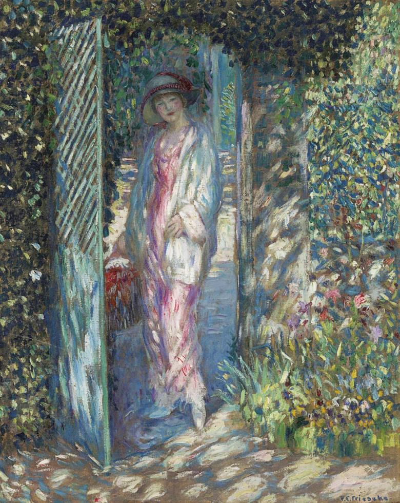 Frederick Carl Frieseke (1874-1939), The Lattice Gate, painted by 1913. 32 x 25 ½  in (81.3 x 64.8  cm). Estimate $500,000-700,000. Offered in American Art on 22 May at Christie's in New York