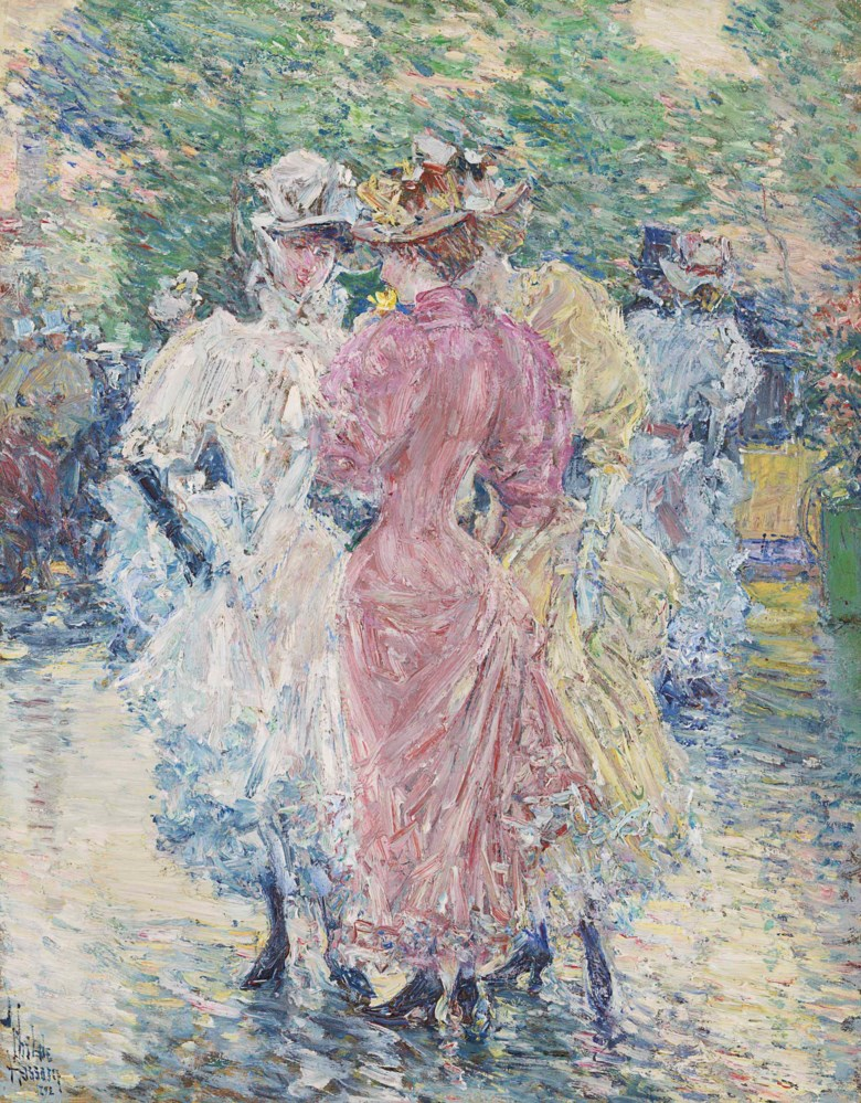 Childe Hassam (1859-1935), Conversation on the Avenue, 1892. Oil on canvas. 16⅛ x 12⅝  in (41 x 32  cm). Sold for $2,412,500 on 22 May 2018 at Christie's in New York