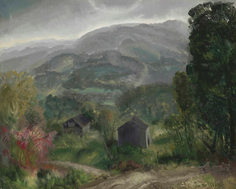 George Wesley Bellows (1882-1925), Old Barn, Grey Day, painted in 1920. 18 x 22  in (45.7 x 55.9  cm). Estimate $60,000-80,000. Offered in American Art on 22 May at Christie's in New York