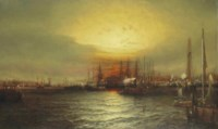 Sunrise from Chapman Dock and Old Brooklyn Navy Yard, East River, New York