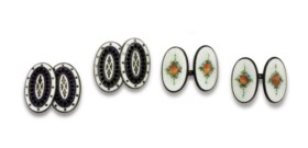 SILVER AND ENAMEL CUFF LINKS