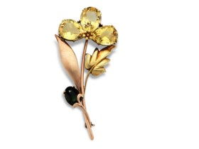 CITRINE, TOURMALINE AND GOLD BROOCH