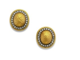 CHAUMET GOLD AND DIAMOND EAR CLIPS
