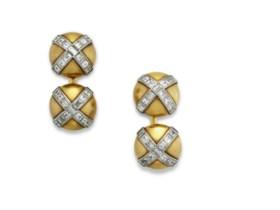 CARTIER DIAMOND AND GOLD CUFFLINKS