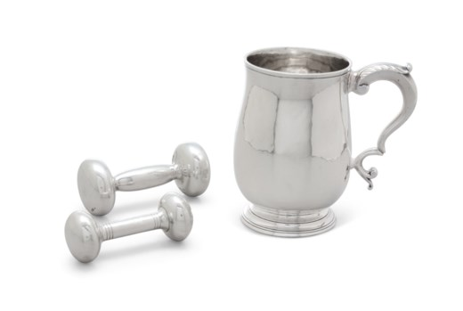 AN AMERICAN SILVER CHILD'S CANN AND TWO INFANT RATTLES