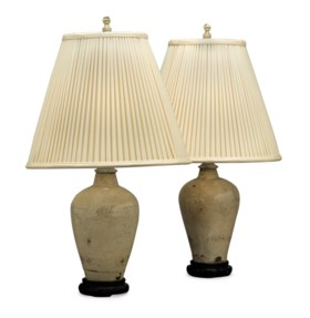 A PAIR OF CREAM-CRACKLE-GLAZED VASES, MOUNTED AS LAMPS