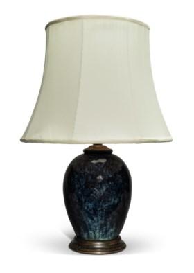 A FLAMBÉ-GLAZED JAR, MOUNTED AS A LAMP