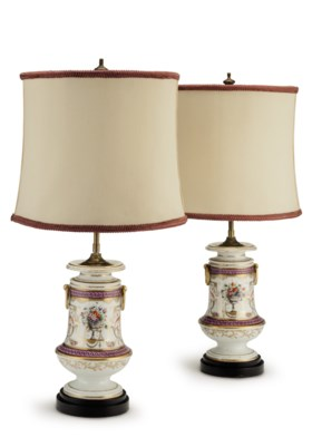 A PAIR OF PARIS PORCELAIN VASES, MOUNTED AS LAMPS