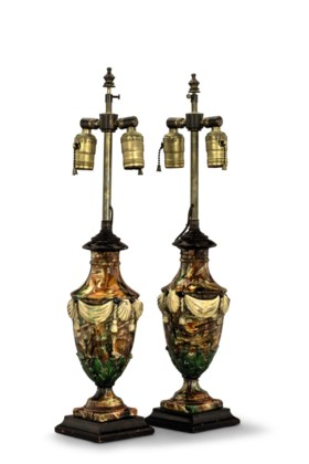 A PAIR OF CONTINENTAL AGATEWARE VASES MOUNTED AS LAMPS