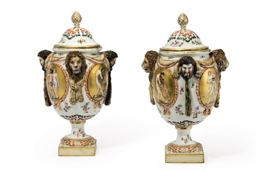 A Pair Of Capodimonte Style Porcelain Vases And Covers Late 19th