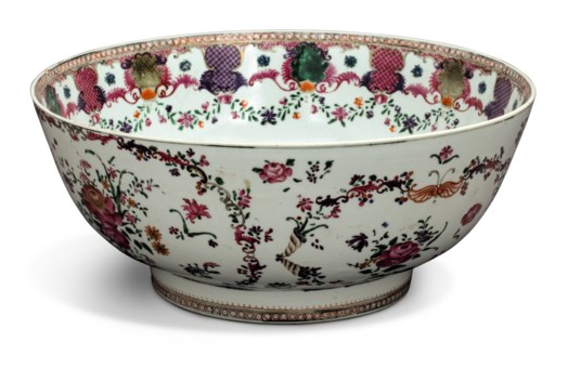 A guide to the symbolism of flowers on chinese ceramics christies a chinese export famille rose punch bowl buycottarizona Image collections