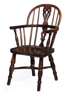 AN ENGLISH YEWWOOD AND ELM CHILD'S WINDSOR ARMCHAIR