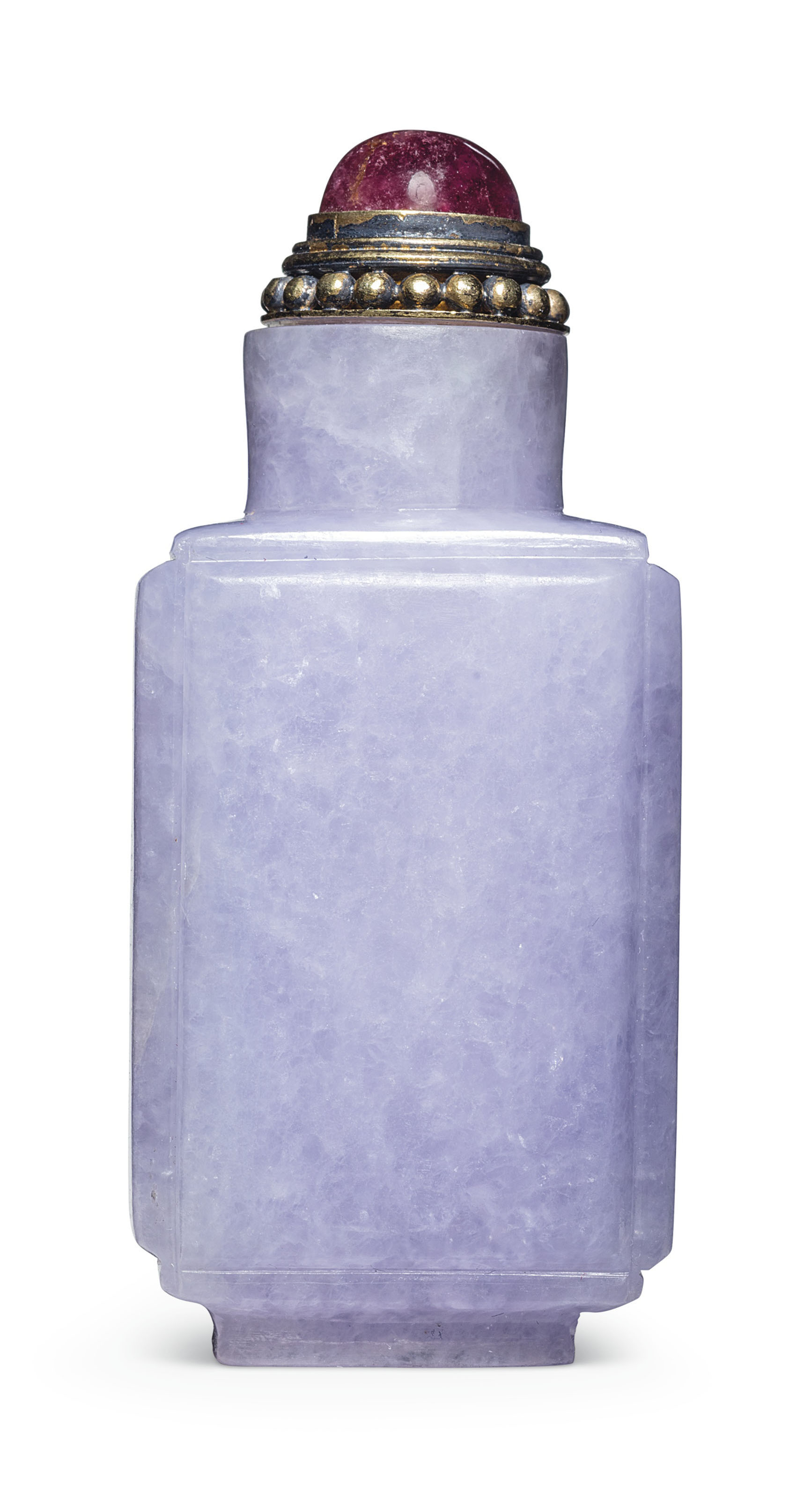 A lavender jadeite rectangular snuff bottle, 1780-1860. 2¼ in (5.7 cm) high, pink tourmaline stopper. Estimate $14,000-18,000. This lot is offered in The Ruth and Carl Barron Collection of Fine Chinese Snuff Bottles Part VI on 12 September 2018 at Christie's in New York