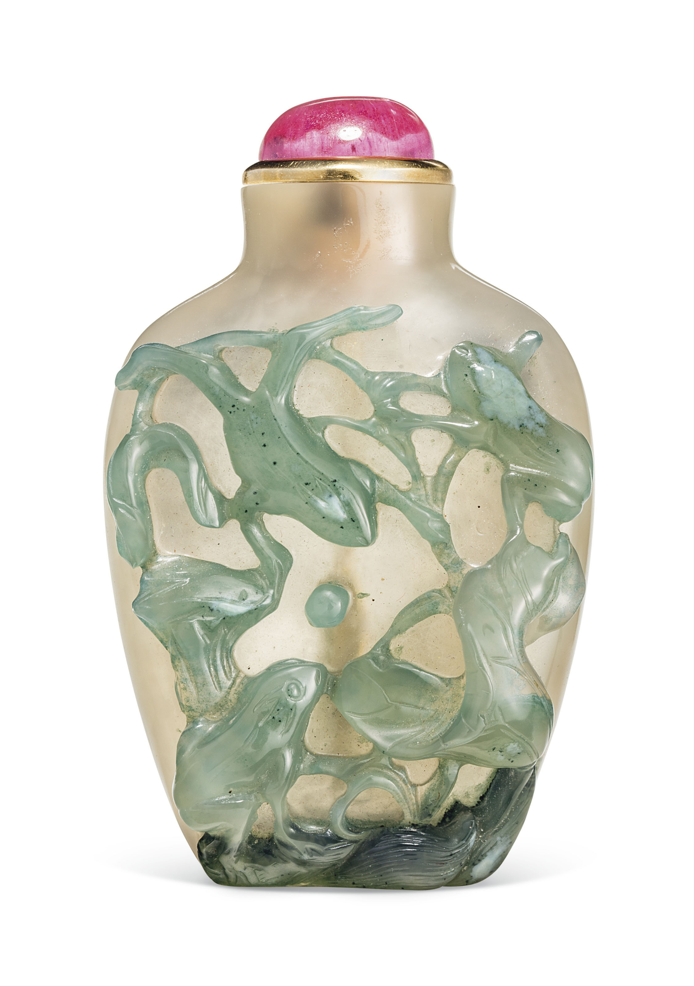 A carved chalcedony snuff bottle, probably imperial, official school, 1760-1800. 2  in (5  cm) high, pink tourmaline stopper and metal spoon. Estimate $12,000-15,000. This lot is offered in The Ruth and Carl Barron Collection of Fine Chinese Snuff Bottles Part VI on 12 September 2018 at Christie's in New York