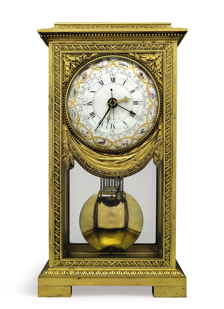 A Louis XVI ormolu table regulator with equation of time and remontoire, the clockmaker Robert Robin, horologer du roi, Paris, the enameller Joseph Coteau, the dial dated 1781. 16⅛ in (41 cm) high, 8⅝ in (21.9 cm) wide, 6¾ in (7.2 cm) deep. Sold for $200,000 on 20 April 2018 at Christie's in New York