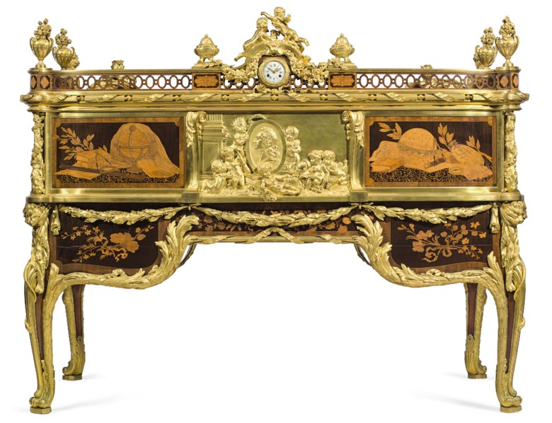 A French ormolu and jasperware-mounted mahogany, tulipwood, amaranth, sycamore and marquetry cylinder bureau, by Emmanuel-Alfred Beurdeley (1847-1919). 57  in (145  cm) high, 74  in (188  cm) wide, 38  in (97  cm) deep. Estimate $500,000-800,000. This lot is offered in The Exceptional Sale on 20 April at Christie's in New York. The plaque of Louis XV is shown here on the back of the