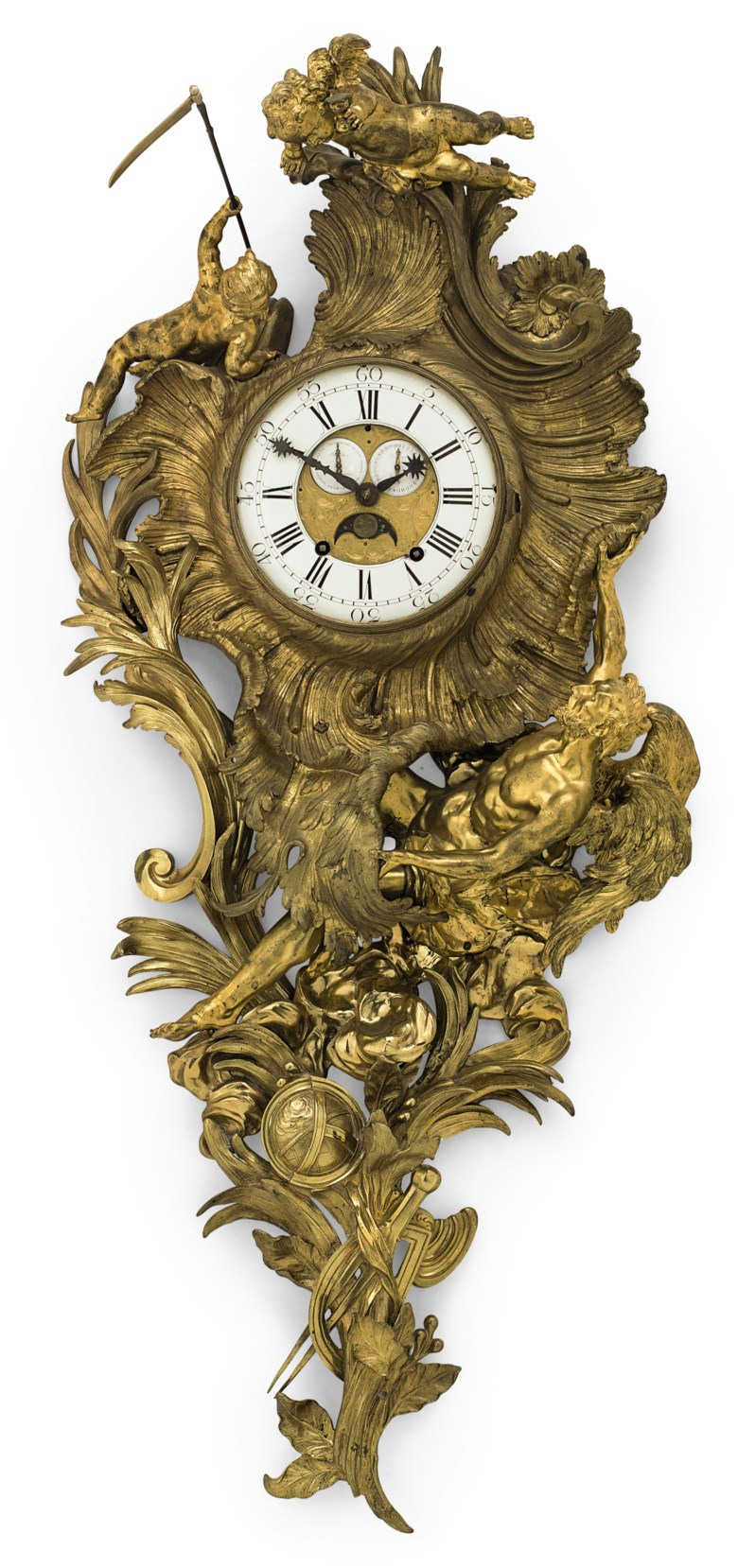 An early Louis XV ormolu cartel clock, after a design by Juste-Aurele Meissonnier, circa 1735-40, with associated movement, the dial signed Robin, Paris. 53 in (134.5 cm) high, 22 in (56 cm) wide. Sold for $100,000 on 20 April 2018 at Christie's in New York