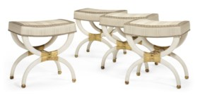 A SET OF FOUR EMPIRE WHITE-PAINTED AND PARCEL-GILT TABOURETS
