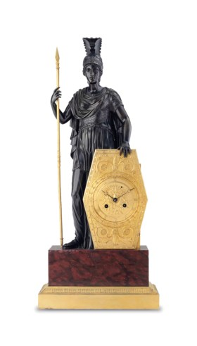 AN EMPIRE ORMOLU, PATINATED-BRONZE AND ROUGE GRIOTTE MARBLE MANTEL CLOCK