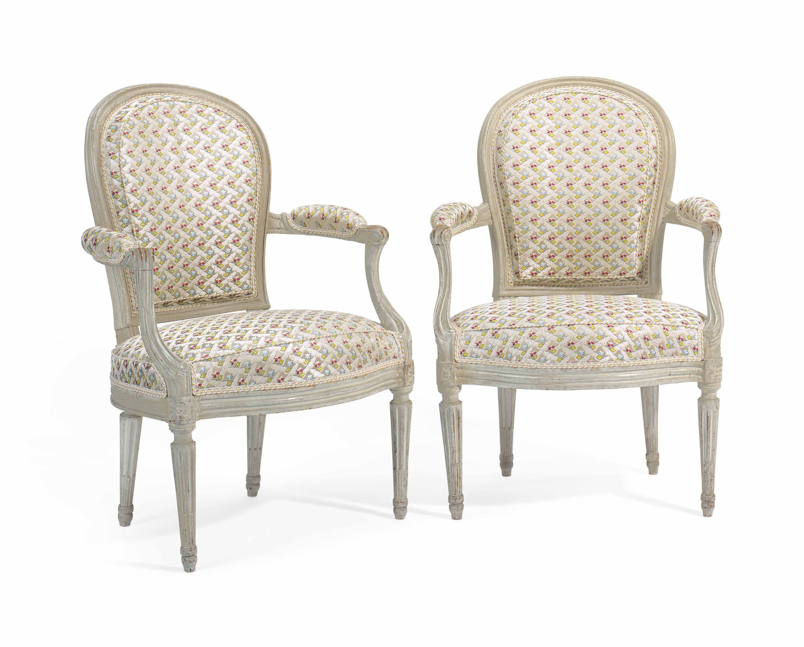 A PAIR OF LOUIS XVI GREY-PAINTED FAUTEUILS | BY HENRI JACOB, CIRCA ...