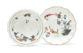A CHANTILLY PORCELAIN BOWL AND A CHELSEA SCALLOPED SAUCER DI