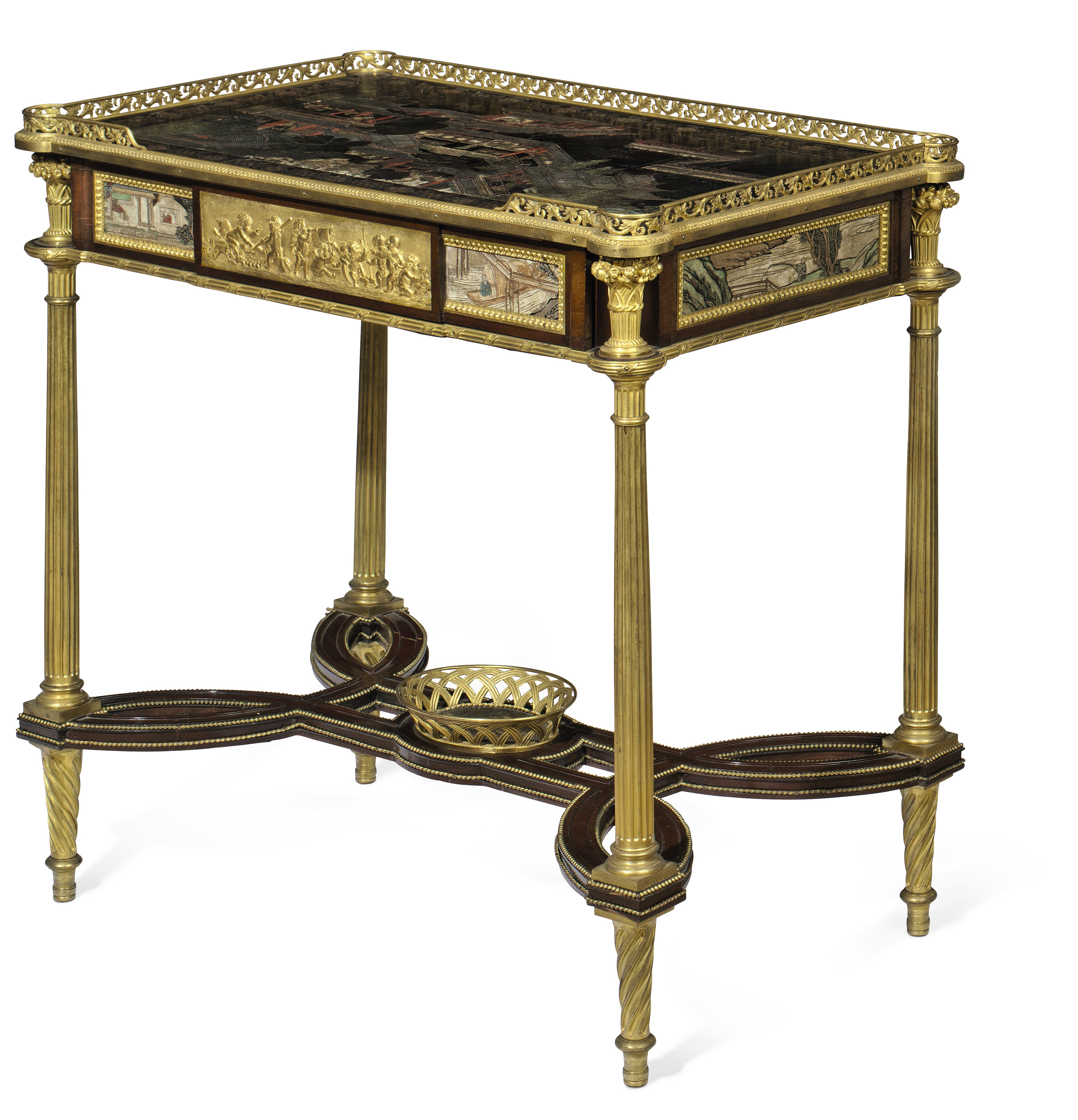 A FRENCH ORMOLU AND COROMANDEL LACQUER-MOUNTED MAHOGANY ...
