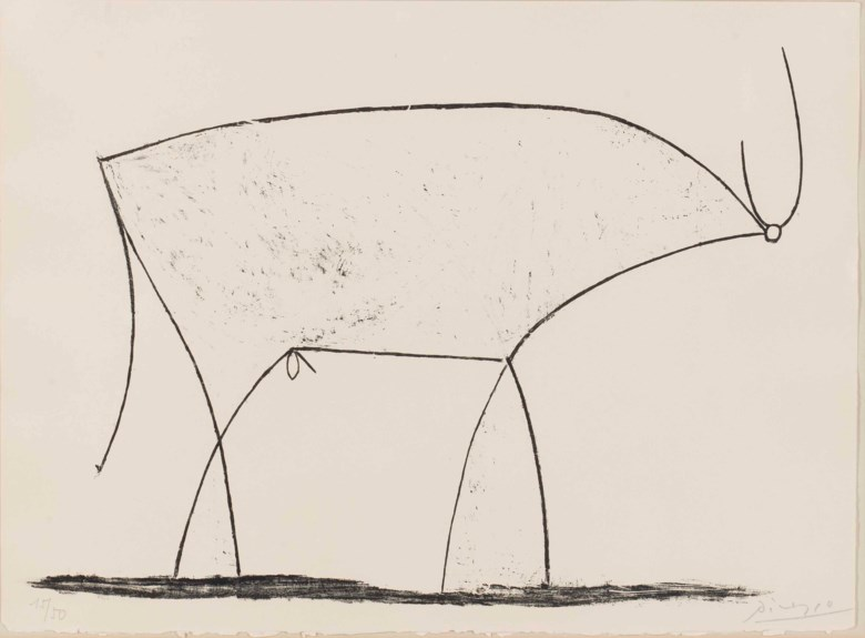 Pablo Picasso (1881-1973), Le Taureau. Sheet 12⅞ x 17⅜  in (325 x 440  mm). Estimate $12,000-18,000. This lot is offered in Prints and Multiples on 19-20 April at Christie's in New York
