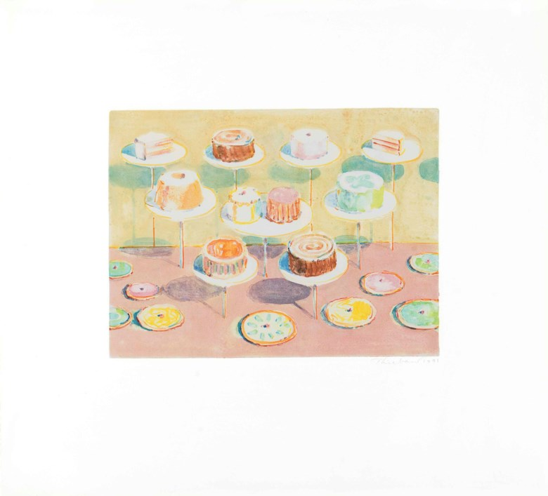 Wayne Thiebaud (b. 1920), Untitled (Cake Window). Sheet 18⅛ x 20  in (460 x 506  mm). Estimate $120,000-180,000. This lot is offered in Prints and Multiples on 19-20 April at Christie's in New York