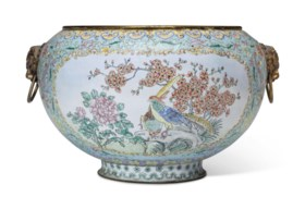 A CHINESE LARGE ENAMEL-ON-COPPER TURQUOISE-GROUND JARDINIÈRE