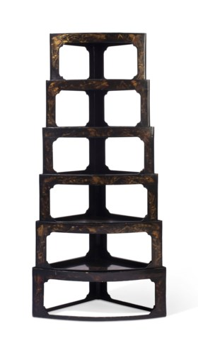 A NEST OF SIX JAPANESE BLACK AND GILT LACQUER LOW STANDS