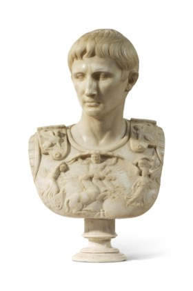 A MARBLE BUST OF A ROMAN EMPEROR
