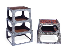 TWO NESTING SETS OF JAPANESE BROWN LACQUER AND MOTHER-OF-PEA