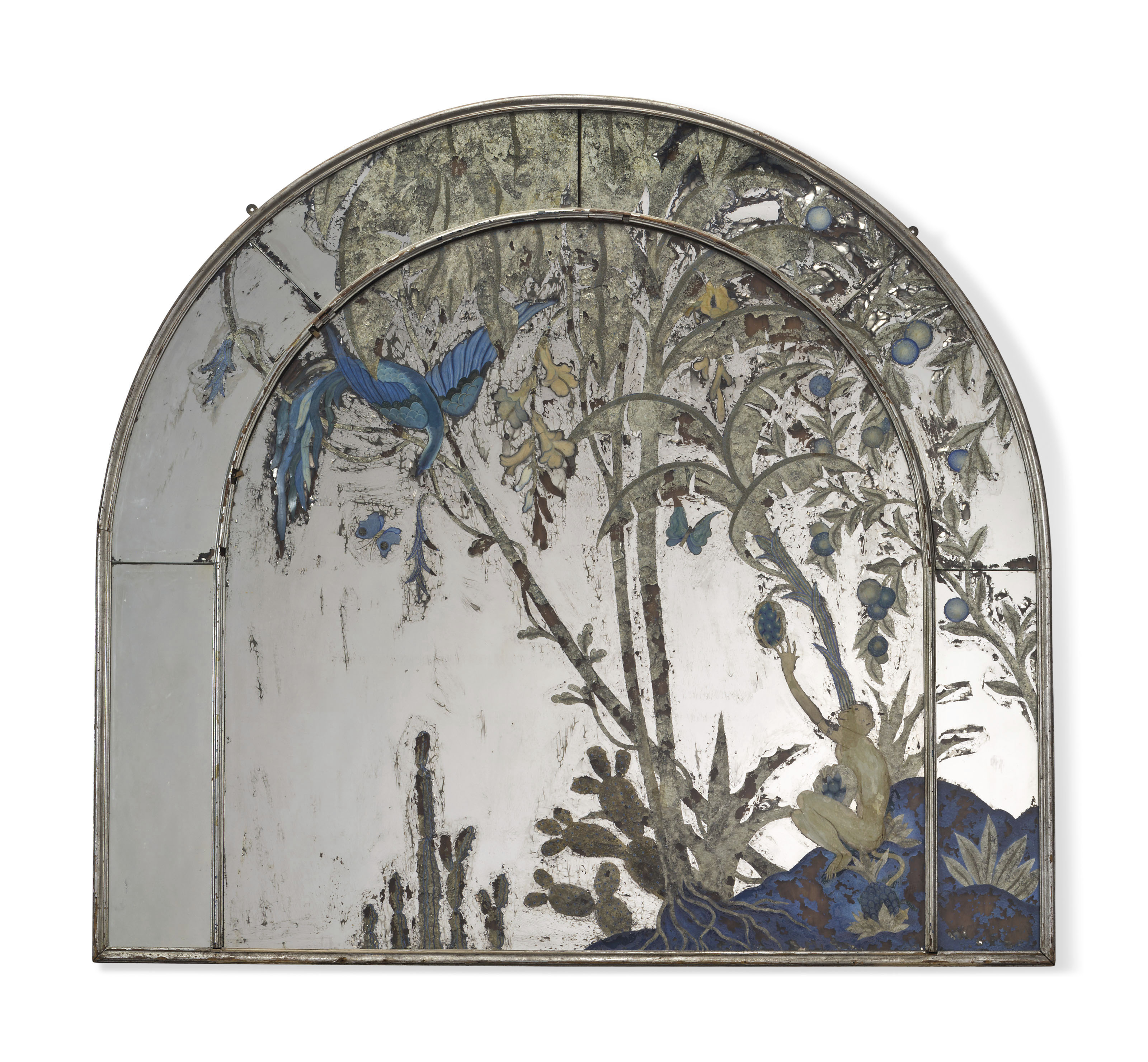 A Silvered Wood And Reverse Painted Glass Overmantel Mirror Early 20th Century Furniture Lighting Mirrors Christie S