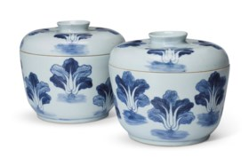 A PAIR OF CHINESE BLUE AND WHITE 'BOK CHOY' BOXES AND COVERS