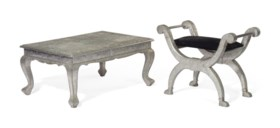 AN INDIAN SILVERED-METAL AND BRASS-VENEERED LOW TABLE